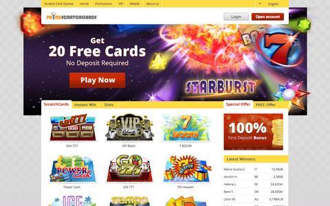 Screenshot of Home Page primescratchcards.com - Online Scratch Cards - 20 FREE Games| PrimeScratchCards - captured Jan. 21, 2015