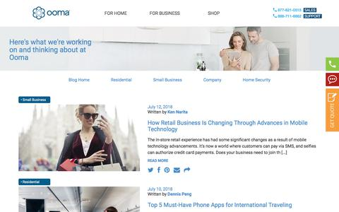 Screenshot of Blog ooma.com - Company Blog - VoIP Business and Home Phones | Ooma Blog - captured July 12, 2018