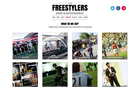 Screenshot of Services Page the-freestylers.com - SERVICES - The Freestylers Sport Entertainment Agency - captured Oct. 26, 2014