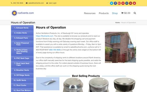 Screenshot of Hours Page roofvents.com - Hours of Operation - captured Oct. 3, 2018