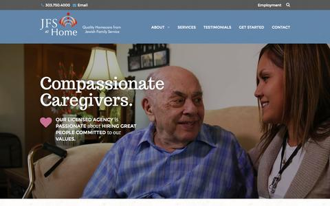 Screenshot of Home Page jfsathome.com - Senior Home Care Services Denver, CO | Homecare Assistance Programs - captured Sept. 7, 2015