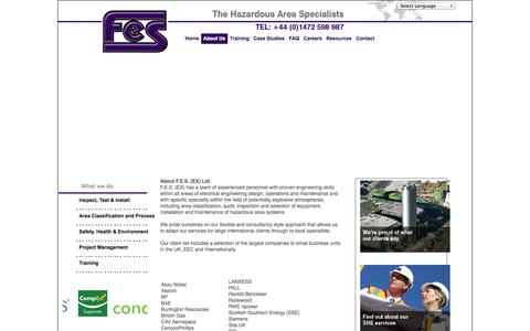 Screenshot of About Page fes-ex.com - FES: Hazardous Area Specialists  - About Us - captured Oct. 4, 2014