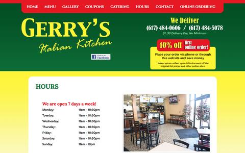 Screenshot of Hours Page gerrysitaliankitchen.com - Gerry's Italian Kitchen | Family Restaurant | Pizza | Pasta | Salads | Subs | Lunch | Dinner |Catering | Watertown, MA - captured April 26, 2017