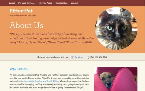 Screenshot of About Page pitter-pat.com - About Us - Pitter-Pat: Dog Walking and Pet Care Services in Ashburn and Aldie, VA - captured Oct. 2, 2014