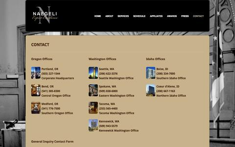 Screenshot of Contact Page naegeliusa.com - NAEGELI Deposition and Trial | Contact - captured Oct. 7, 2014