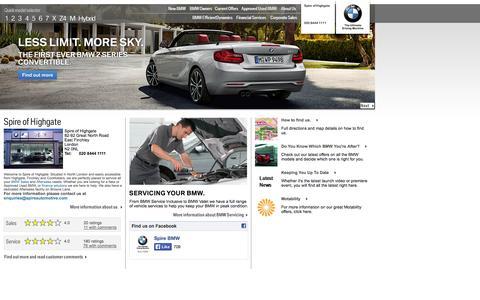 Screenshot of Home Page spirehighgatebmw.co.uk - Spire of Highgate - East Finchley | Authorised BMW Dealer - captured Oct. 2, 2014