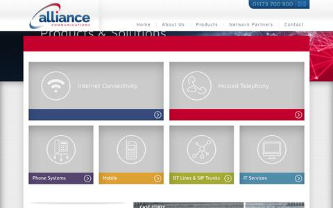 Screenshot of Products Page alliancecoms.com - Products - Alliance Communications - captured Oct. 8, 2017