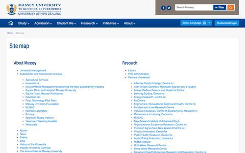 Screenshot of Site Map Page massey.ac.nz - Sitemap - Massey University - captured June 30, 2018
