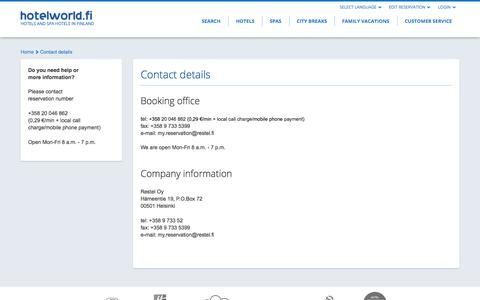 Screenshot of Support Page hotelworld.fi - Contact details - captured Nov. 2, 2014