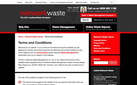 Screenshot of Terms Page networkwaste.co.uk - NETWORK WASTE | Terms and Conditions - captured Oct. 9, 2014