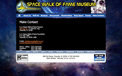 Screenshot of Maps & Directions Page spacewalkoffame.com - Make Contact | U.S. Space Walk of Fame Museum - captured Oct. 3, 2014