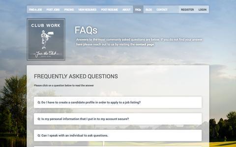 Screenshot of FAQ Page clubwork.com - FAQs - Club Work - captured Sept. 30, 2014