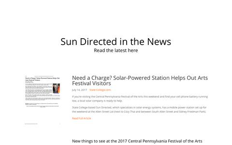 Screenshot of Press Page sundirected.com - News -- read the latest news about Sun Directed Solar Power - captured Sept. 21, 2018