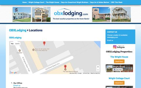Screenshot of Locations Page obxlodging.com - Locations | OBXLodging | Outer Banks, NC - captured Oct. 12, 2017