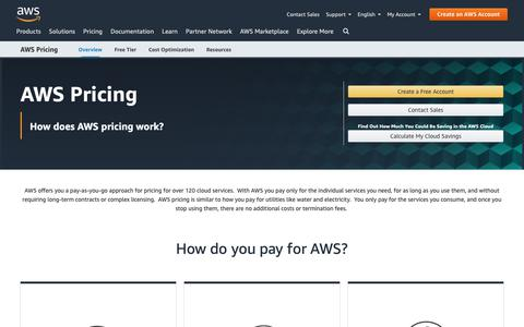 Screenshot of Pricing Page amazon.com - Pricing - captured May 8, 2019
