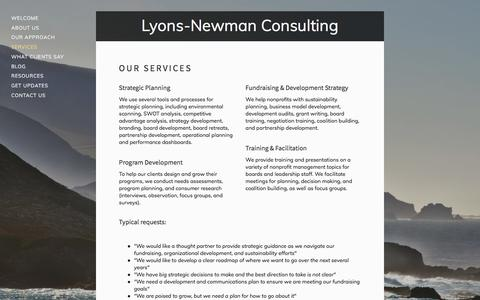 Screenshot of Services Page lyonsnewman.com - Services — Lyons-Newman Consulting - captured Sept. 20, 2017