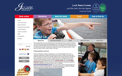 Screenshot of About Page jacobite.co.uk - Jacobite - About Jacobite Cruise Loch Ness Scotland Staff Boats Achievments - captured Oct. 6, 2014