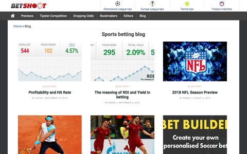 Screenshot of Blog betshoot.com - Sports & betting blog – Facts in the sports world - captured Sept. 22, 2018