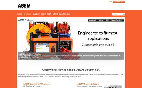 Screenshot of Products Page abem.se - ABEM - Pioneers in geophysics since 1923 - products - captured Oct. 4, 2014