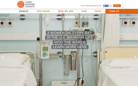 Screenshot of Home Page everymothercounts.org - Every Mother Counts - captured Oct. 1, 2015