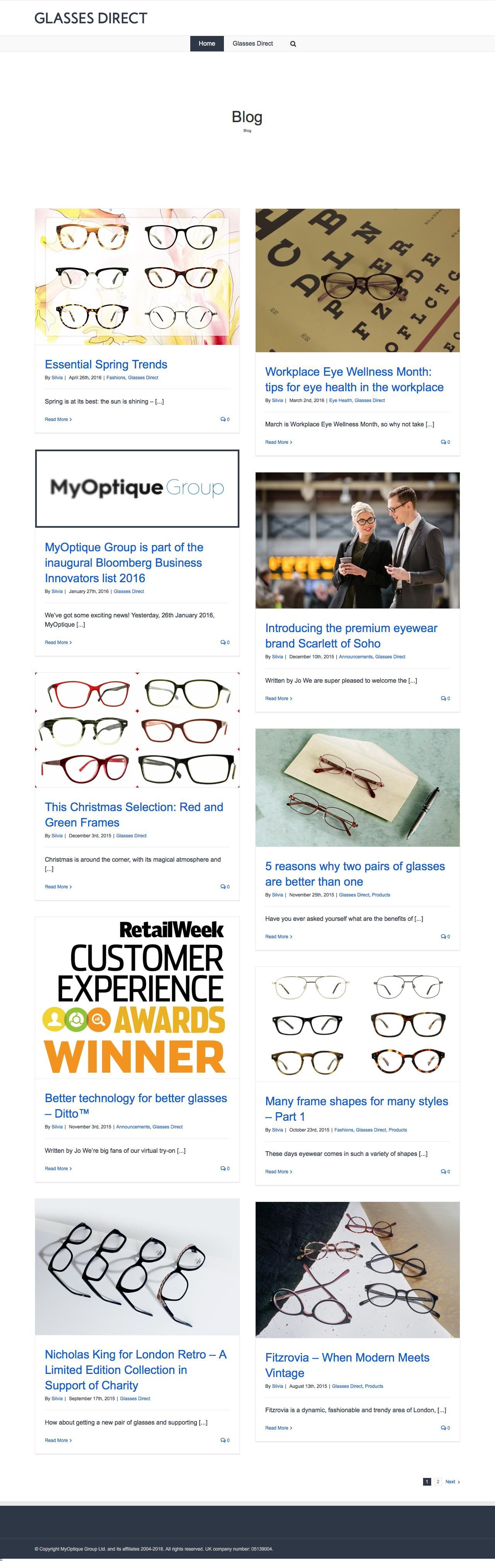 Screenshot of glassesdirect.co.uk - Glasses Direct ™ Blog - captured March 4, 2018