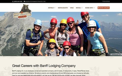 Screenshot of Jobs Page bestofbanff.com - Banff Career and Job Postings for Banff Lodging Company - captured Oct. 9, 2017