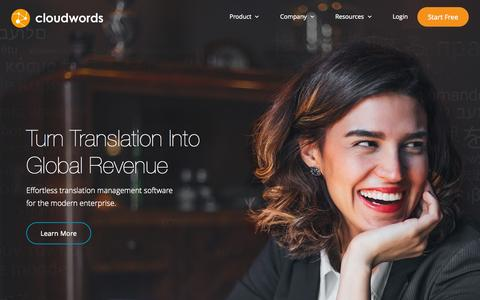 Screenshot of Home Page cloudwords.com - Translation Management System and Content Localization Solutions | Cloudwords - captured Oct. 1, 2015