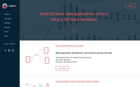 Screenshot of Home Page exaptive.com - Data Application Studio   Exaptive - captured July 5, 2017