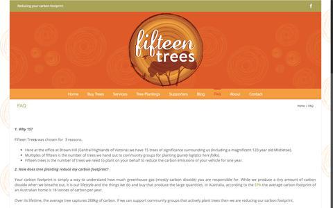 Screenshot of FAQ Page 15trees.com.au - FAQ - fifteen trees - captured Oct. 21, 2018