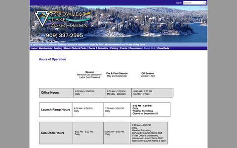 Screenshot of Hours Page ala-ca.org - Arrowhead Lake Association - Hours of Operation - captured May 23, 2016