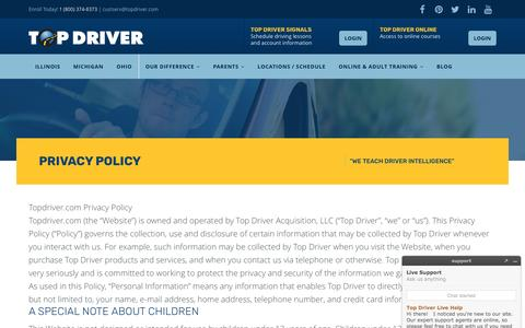 Privacy Policy - Top Driver Driving School