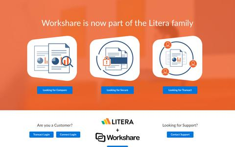 Screenshot of Home Page workshare.com - Workshare is now part of the Litera family - captured Jan. 29, 2020
