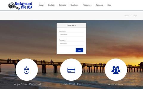 Screenshot of Login Page backgroundinfousa.com - Log In for FCRA Compliant Background Checks - captured Nov. 2, 2014