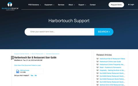 Screenshot of Support Page harbortouch.com - Harbortouch Bar & Restaurant User Guide : Harbortouch Support Center - captured Oct. 9, 2018