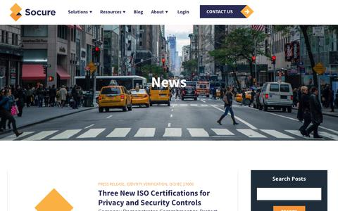 Screenshot of Press Page socure.com - News | ID Verification Services | Socure | ISO/IEC 27000 - captured Oct. 18, 2019