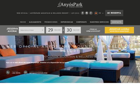 Screenshot of FAQ Page anyospark.com - Contacto AnyósPark Mountain & Wellness Resort, Web Oficial - captured Sept. 29, 2018