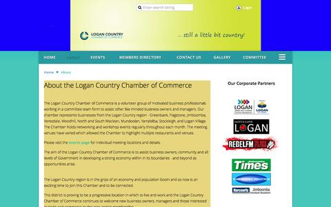 Screenshot of About Page logancountrychamber.com.au - Logan Country Chamber of Commerce - About - captured Nov. 12, 2016