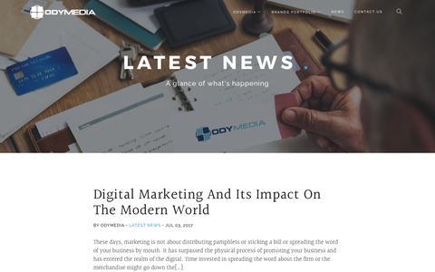 Screenshot of Press Page odymedia.net - News - ODYMEDIA - captured Sept. 17, 2017