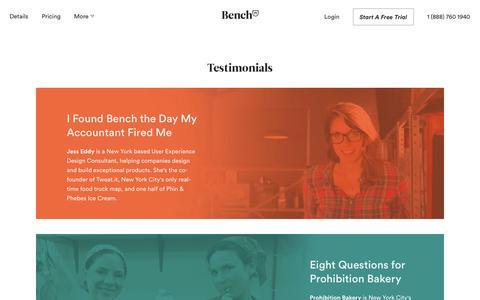 Screenshot of Testimonials Page bench.co - Bench — Customer Testimonials - captured Dec. 23, 2015