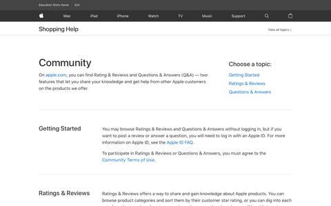 Screenshot of FAQ Page apple.com - Questions & Answers - Shopping Help - Education - Apple - captured July 11, 2018