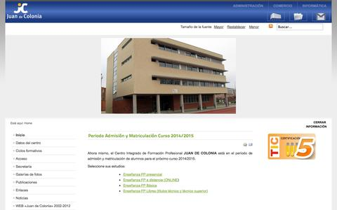 Screenshot of Home Page juandecolonia.es captured Oct. 1, 2014
