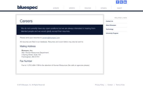 Screenshot of Jobs Page bluespec.com - Bluespec Inc. - captured Sept. 13, 2014