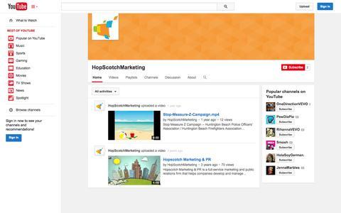 Screenshot of YouTube Page youtube.com - HopScotchMarketing  - YouTube - captured Oct. 22, 2014