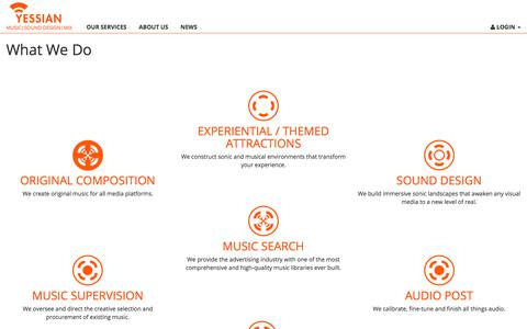 Screenshot of Services Page yessian.com - Yessian - The Power of Sound - captured July 20, 2019