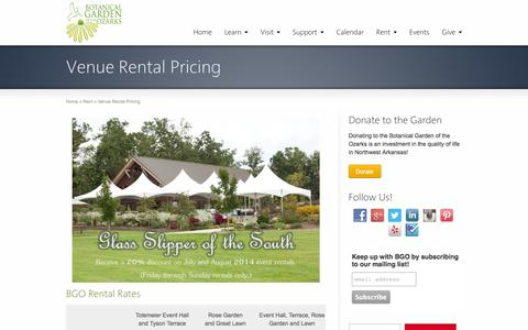 Screenshot of Pricing Page bgozarks.org - Venue Rental Pricing | Botanical Garden of the Ozarks - Learn. Play. Grow. - captured Oct. 5, 2014
