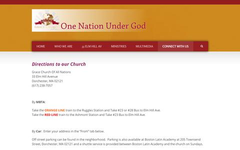 Screenshot of Maps & Directions Page gcoan.org - Welcome to Grace Church of All Nations   » Directions - captured Oct. 31, 2018