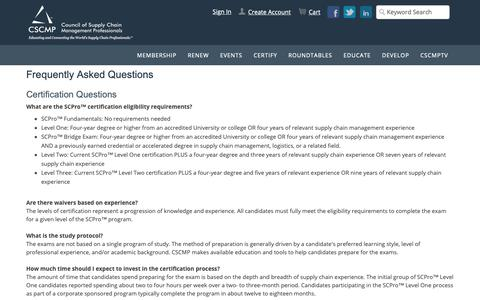 Screenshot of FAQ Page cscmp.org - Frequently Asked Questions - captured Oct. 21, 2018