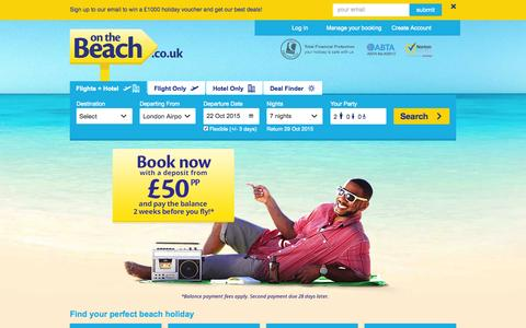 Screenshot of Home Page onthebeach.co.uk - Cheap Holidays | Holiday Deals in 2015  | On the Beach - captured Oct. 15, 2015