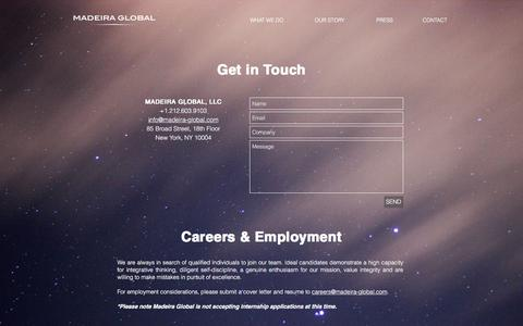 Screenshot of Contact Page madeira-global.com - Madeira Global - captured Nov. 17, 2016
