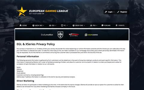 Screenshot of Privacy Page egl.tv - European Gaming League - captured Sept. 19, 2014